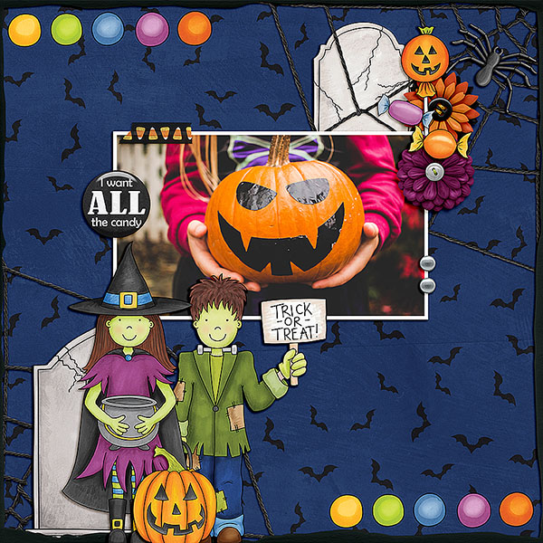 """Halloween scrapbook page created with the """"Trickity Treat"""" digital scrapbooking kit by Kate Hadfield and Kim Jensen – fun ideas for Halloween scrapbook pages! Layout created by Creative Team member Dagi"""