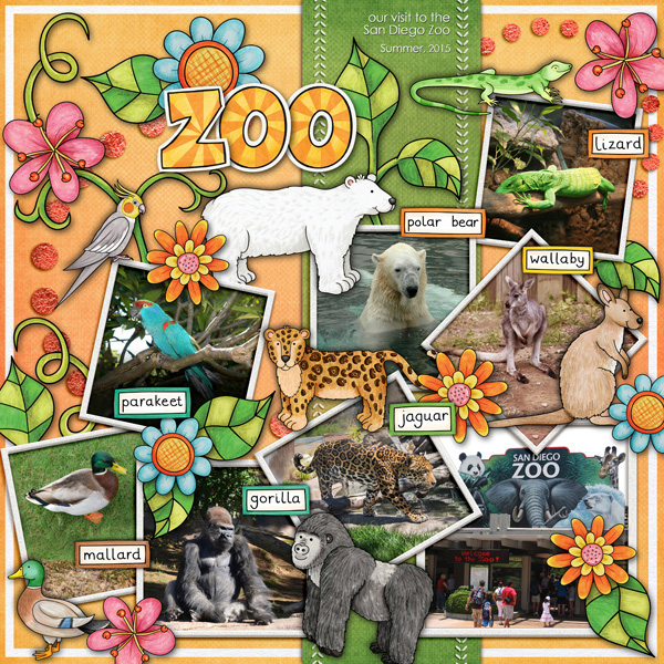 Digital scrapbook page created with digital scrapbooking kits by Kate Hadfield – fun ideas for scrapbook pages! Layout created by Creative Team member Karen