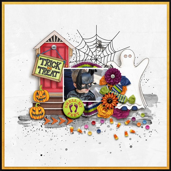 """Halloween scrapbook page created with the """"Trickity Treat"""" digital scrapbooking kit by Kate Hadfield and Kim Jensen – fun ideas for Halloween scrapbook pages! Layout created by Creative Team member Ellen"""