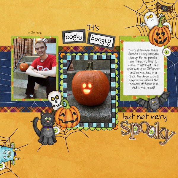 """Halloween scrapbook page created with the """"Oogly Boogly"""" digital scrapbooking kit from Kate Hadfield Designs – fun ideas for Halloween scrapbook pages! #digitalscrapbooking Layout created by Creative Team member Jan"""