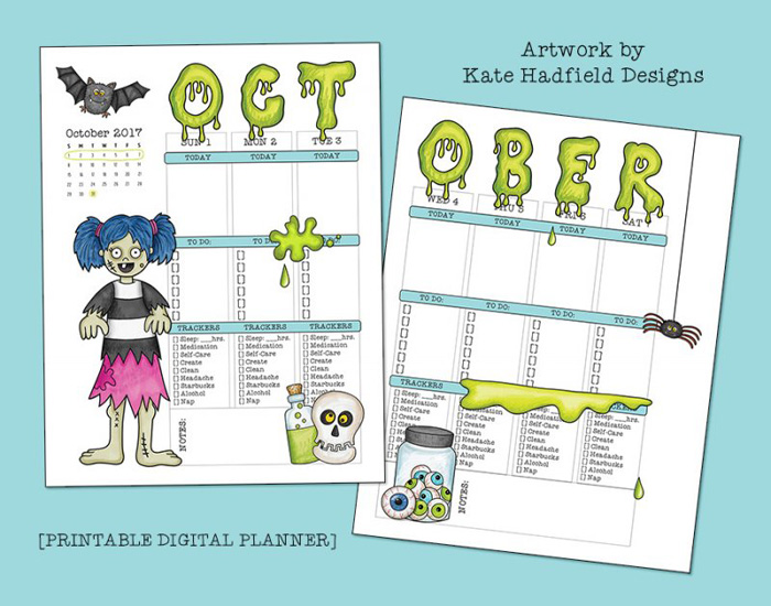 """Printable planner page created with the """"Oogly Boogly"""" digital scrapbooking kit from Kate Hadfield Designs - fun ideas for Halloween themed planners! Created by Creative Team member Jenna"""