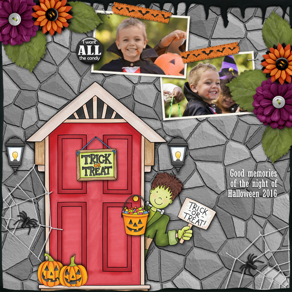 """Halloween scrapbook page created with the """"Trickity Treat"""" digital scrapbooking kit by Kate Hadfield and Kim Jensen – fun ideas for Halloween scrapbook pages! Layout created by Creative Team member Karen"""