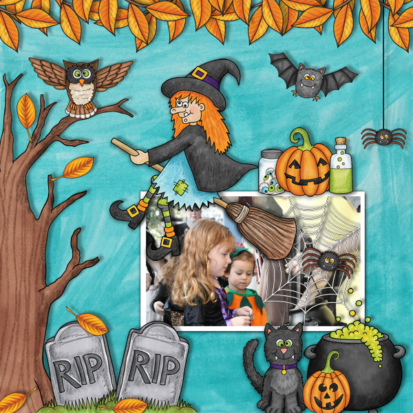 "Halloween scrapbook page created with the ""Oogly Boogly"" digital scrapbooking kit from Kate Hadfield Designs – fun ideas for Halloween scrapbook pages! #digitalscrapbooking Layout created by Creative Team member Karen"