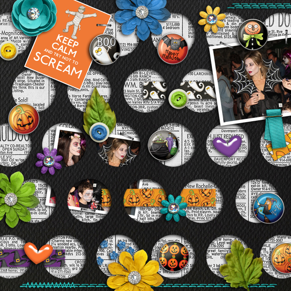 Halloween scrapbook page created with digital scrapbooking kits from Kate Hadfield Designs – fun ideas for Halloween scrapbook pages! #digitalscrapbooking Layout created by Creative Team member Karen