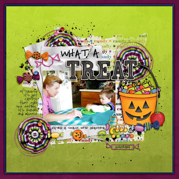 """Halloween scrapbook page created with the """"Trickity Treat"""" digital scrapbooking kit by Kate Hadfield and Kim Jensen – fun ideas for Halloween scrapbook pages! Layout created by Creative Team member Keela"""
