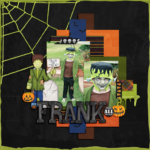 """Halloween scrapbook page created with the """"Trickity Treat"""" digital scrapbooking kit by Kate Hadfield and Kim Jensen – fun ideas for Halloween scrapbook pages! Layout created by Creative Team member Kirstie"""