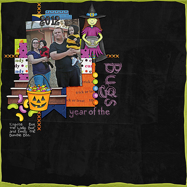 """Halloween scrapbook page created with the """"Trickity Treat"""" digital scrapbooking kit by Kate Hadfield and Kim Jensen – fun ideas for Halloween scrapbook pages! Layout created by Creative Team member Kristina"""