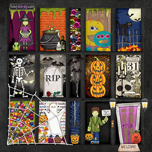 """Halloween scrapbook page created with the """"Trickity Treat"""" digital scrapbooking kit by Kate Hadfield and Kim Jensen – fun ideas for Halloween scrapbook pages! Layout created by Creative Team member Melinda"""