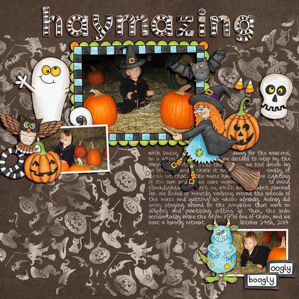 """Halloween scrapbook page created with the """"Oogly Boogly"""" digital scrapbooking kit from Kate Hadfield Designs – fun ideas for Halloween scrapbook pages! #digitalscrapbooking Layout created by Creative Team member Molly"""