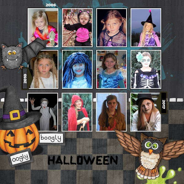 """Halloween scrapbook page created with the """"Oogly Boogly"""" digital scrapbooking kit from Kate Hadfield Designs – fun ideas for Halloween scrapbook pages! #digitalscrapbooking Layout created by Creative Team member Olga"""