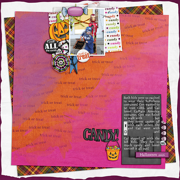 """Halloween scrapbook page created with the """"Trickity Treat"""" digital scrapbooking kit by Kate Hadfield and Kim Jensen – fun ideas for Halloween scrapbook pages! Layout created by Creative Team member Sara"""