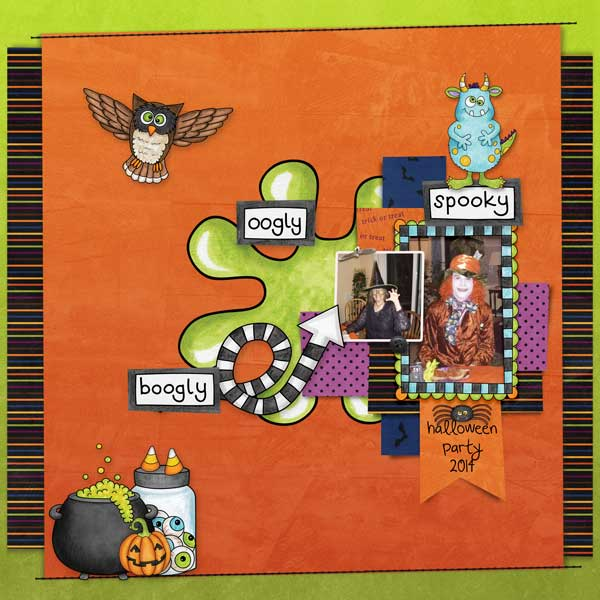 """Halloween scrapbook page created with the """"Oogly Boogly"""" digital scrapbooking kit from Kate Hadfield Designs – fun ideas for Halloween scrapbook pages! #digitalscrapbooking Layout created by Creative Team member Stacey"""