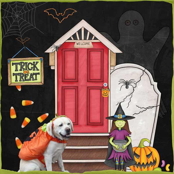 """Halloween scrapbook page created with the """"Trickity Treat"""" digital scrapbooking kit by Kate Hadfield and Kim Jensen – fun ideas for Halloween scrapbook pages! Layout created by Creative Team member Stacey"""