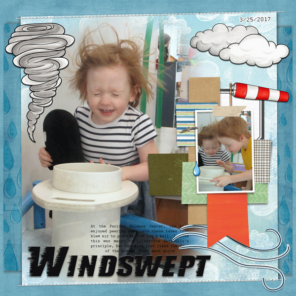 """Digital scrapbook page created with the """"Whatever the Weather"""" digital scrapbooking kit by Kate Hadfield – fun ideas for scrapbook pages! Layout created by Creative Team member Molly"""