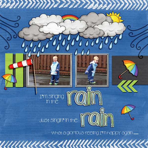 """Digital scrapbook page created with the """"Whatever the Weather"""" digital scrapbooking kit by Kate Hadfield – fun ideas for scrapbook pages! Layout created by Creative Team member Birgit"""