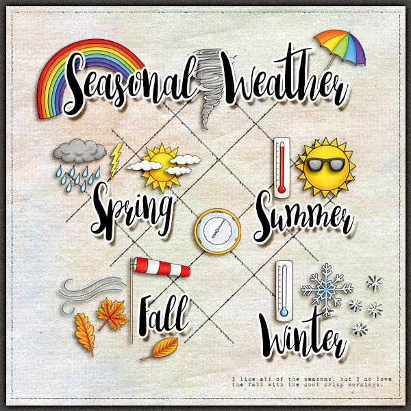 """Digital scrapbook page created with the """"Whatever the Weather"""" digital scrapbooking kit by Kate Hadfield – fun ideas for scrapbook pages! Layout created by Creative Team member Christa"""