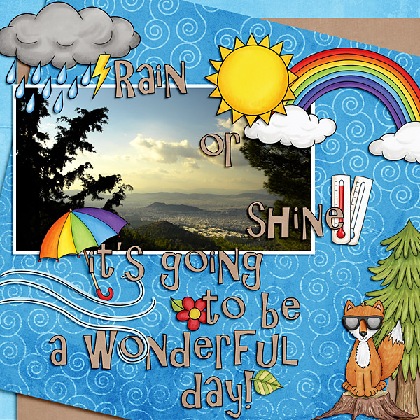 """Digital scrapbook page created with the """"Whatever the Weather"""" digital scrapbooking kit by Kate Hadfield – fun ideas for scrapbook pages! Layout created by Creative Team member Cindy"""