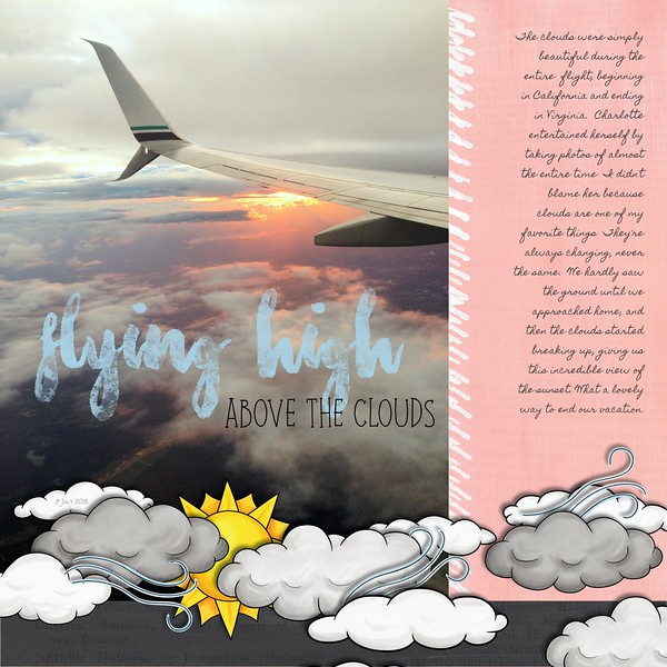 """Digital scrapbook page created with the """"Whatever the Weather"""" digital scrapbooking kit by Kate Hadfield – fun ideas for scrapbook pages! Layout created by Creative Team member Jan"""