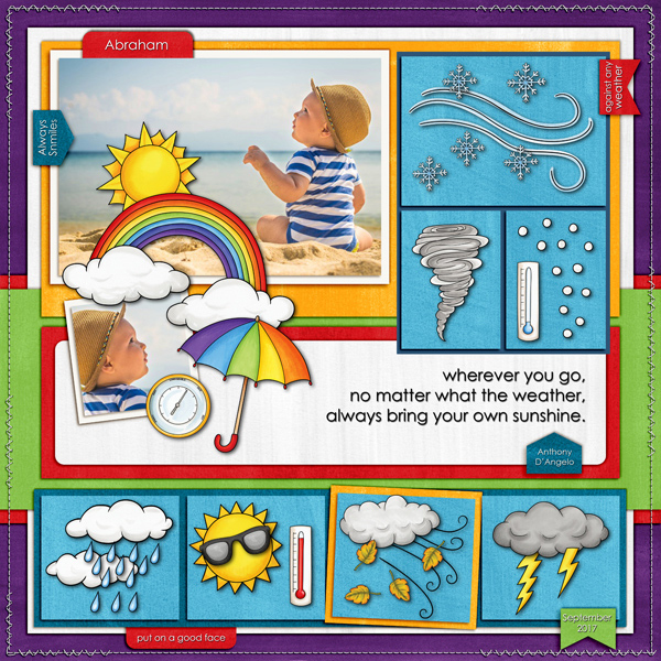 """Digital scrapbook page created with the """"Whatever the Weather"""" digital scrapbooking kit by Kate Hadfield – fun ideas for scrapbook pages! Layout created by Creative Team member Karen"""