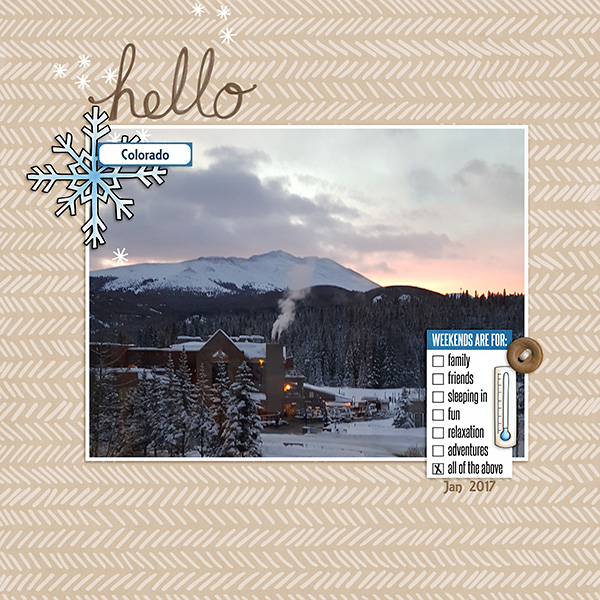 """Digital scrapbook page created with the """"Whatever the Weather"""" digital scrapbooking kit by Kate Hadfield – fun ideas for scrapbook pages! Layout created by Creative Team member Sara"""