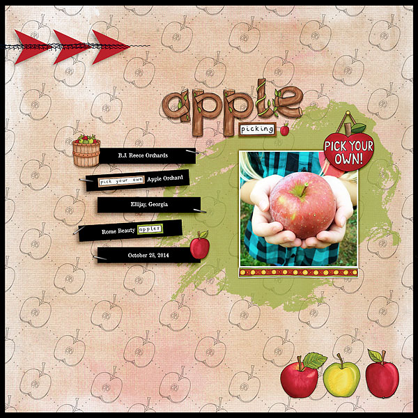 Digital scrapbooking page created with this month's free template from Kate Hadfield – fun ideas for scrapbook pages! Layout created by Creative Team member Desi