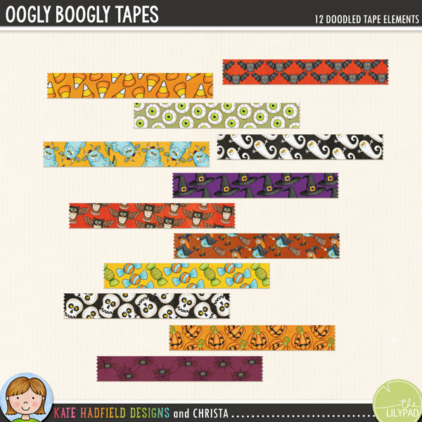 Halloween tapes digital scrapbooking elements – hand-drawn kits for digital scrapbooking, hybrid crafting and teaching resources from Kate Hadfield Designs!