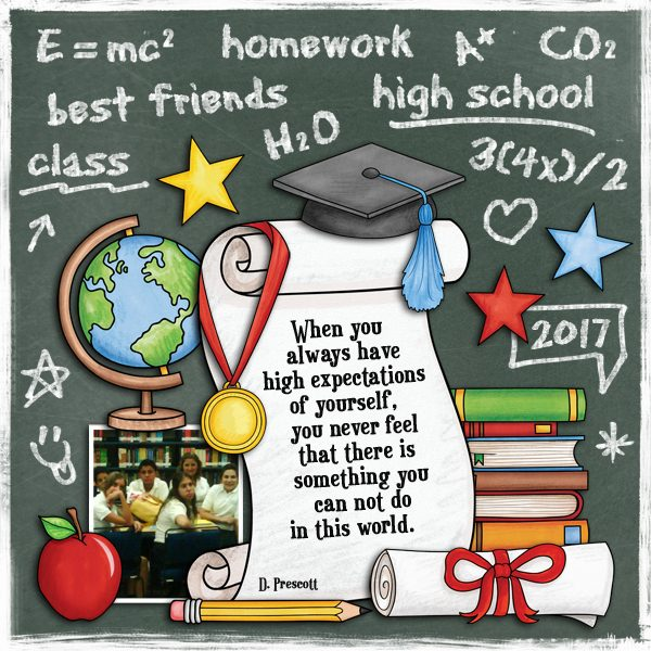 School scrapbook pages and ideas for back to school scrapbooking from the Kate Hadfield Designs Creative Team! #digitlascrapbooking #scrapbook Layout created by CT member Karen