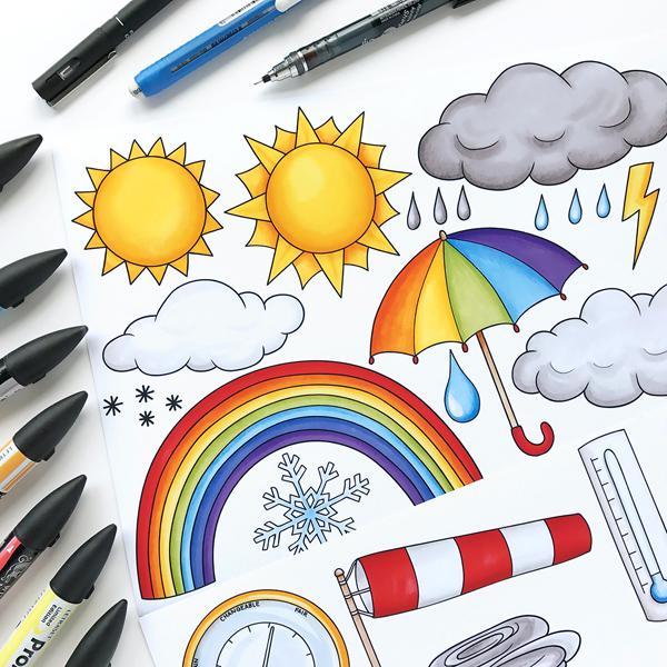 Weather sketchbook doodles by Kate Hadfield