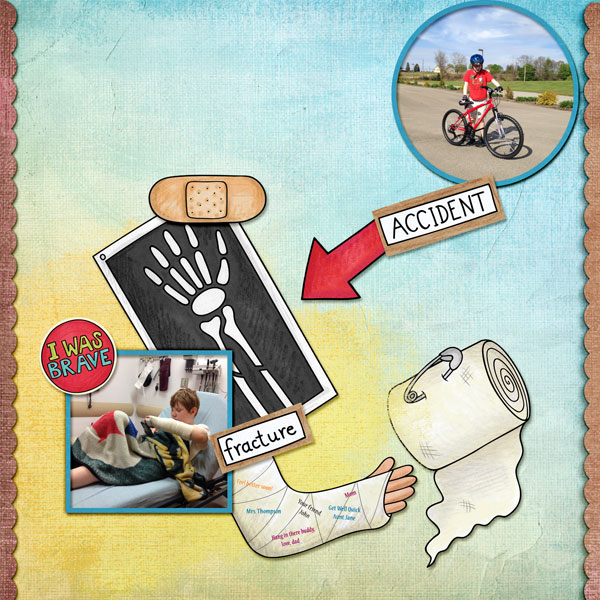 """Accident / illness scrapbook pages created with the """"Bruises and Breaks"""" digital scrapbooking kit from Kate Hadfield Designs - ideas and inspiration for scrapbookers! Layout created by Creative Team member Amy"""