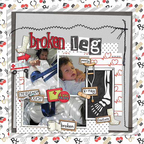 """Accident / illness scrapbook pages created with the """"Bruises and Breaks"""" digital scrapbooking kit from Kate Hadfield Designs - ideas and inspiration for scrapbookers! Layout created by Creative Team member Birgit"""