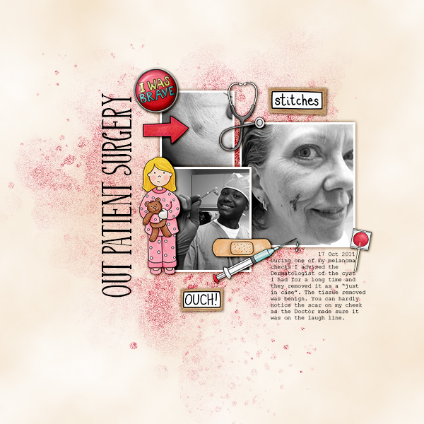 """Accident / illness scrapbook pages created with the """"Bruises and Breaks"""" digital scrapbooking kit from Kate Hadfield Designs - ideas and inspiration for scrapbookers! Layout created by Creative Team member Christa"""