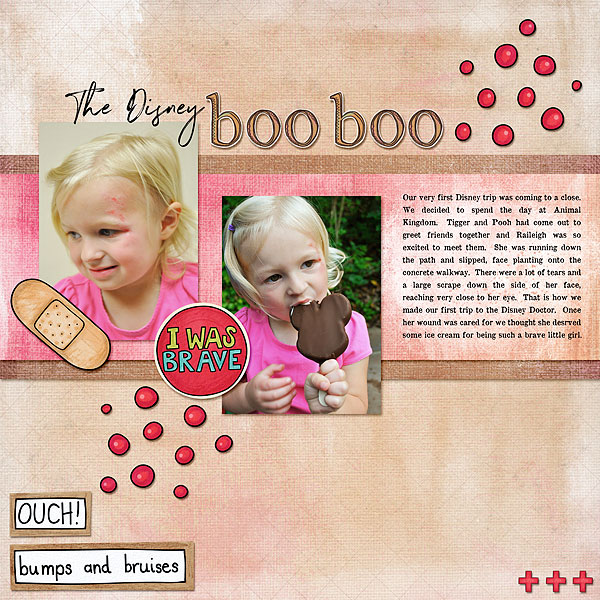 """Accident / illness scrapbook pages created with the """"Bruises and Breaks"""" digital scrapbooking kit from Kate Hadfield Designs - ideas and inspiration for scrapbookers! Layout created by Creative Team member Desi"""