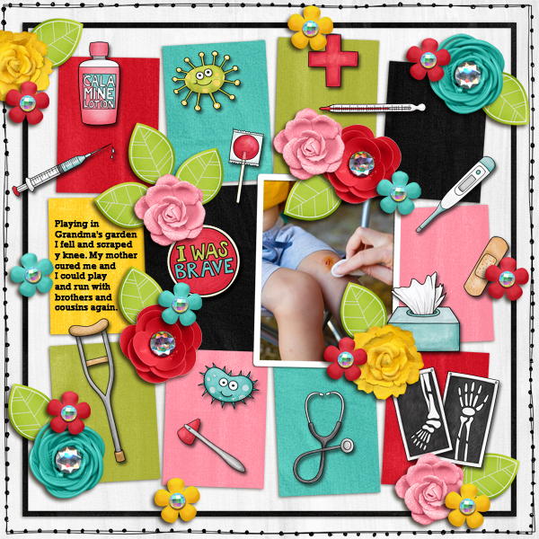 """Accident / illness scrapbook pages created with the """"Bruises and Breaks"""" digital scrapbooking kit from Kate Hadfield Designs - ideas and inspiration for scrapbookers! Layout created by Creative Team member Karen"""