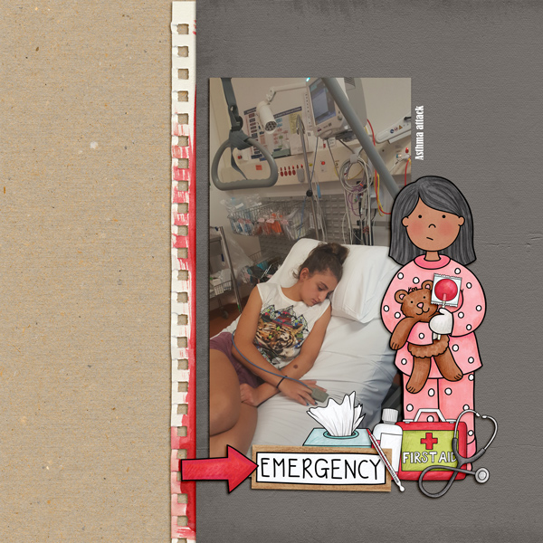 """Accident / illness scrapbook pages created with the """"Bruises and Breaks"""" digital scrapbooking kit from Kate Hadfield Designs - ideas and inspiration for scrapbookers! Layout created by Creative Team member Kirstie"""