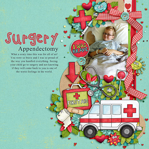 """Accident / illness scrapbook pages created with the """"Bruises and Breaks"""" digital scrapbooking kit from Kate Hadfield Designs - ideas and inspiration for scrapbookers! Layout created by Creative Team member Lisa"""