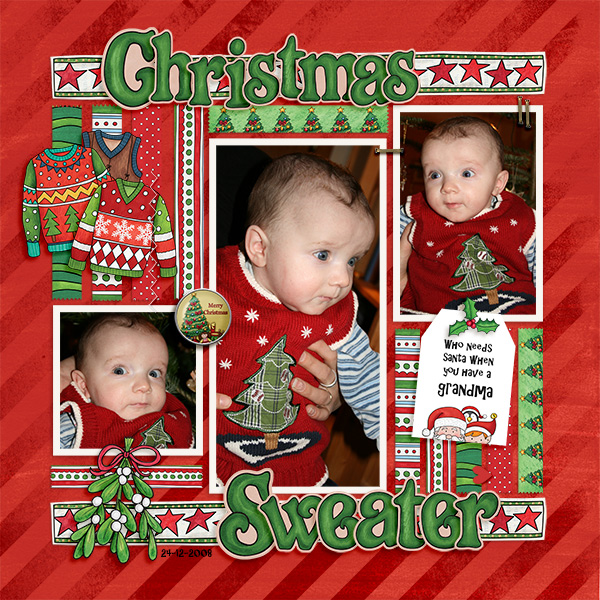 Christmas Sweater scrapbook page created with digital scrapbooking kits from Kate Hadfield Designs – ideas and inspiration for Christmas scrapbook layouts! Layout created by Creative Team member Birgit