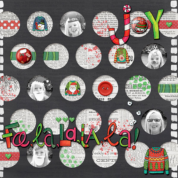 Christmas Sweater scrapbook page created with digital scrapbooking kits from Kate Hadfield Designs – ideas and inspiration for Christmas scrapbook layouts! Layout created by Creative Team member Desi