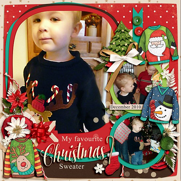 Christmas Sweater scrapbook page created with digital scrapbooking kits from Kate Hadfield Designs – ideas and inspiration for Christmas scrapbook layouts! Layout created by Creative Team member Lisa