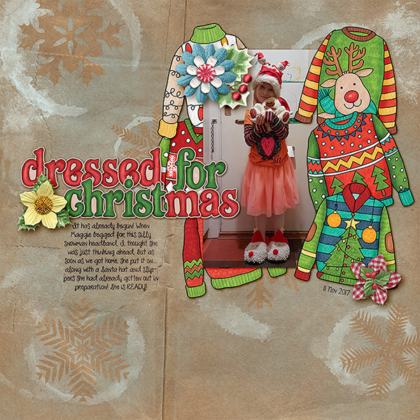 Christmas Sweater scrapbook page created with digital scrapbooking kits from Kate Hadfield Designs – ideas and inspiration for Christmas scrapbook layouts! Layout created by Creative Team member Lorry