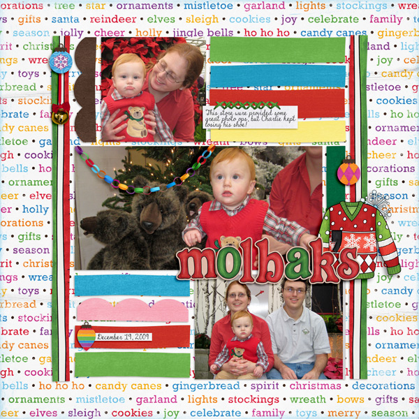 Christmas Sweater scrapbook page created with digital scrapbooking kits from Kate Hadfield Designs – ideas and inspiration for Christmas scrapbook layouts! Layout created by Creative Team member Molly
