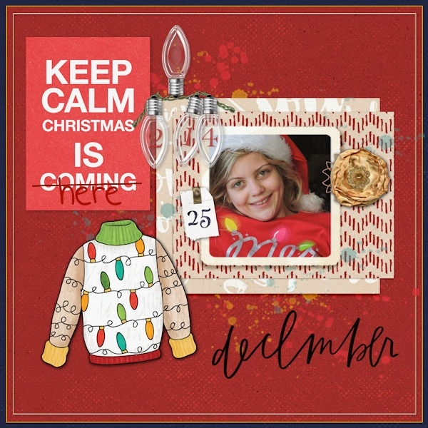 Christmas Sweater scrapbook page created with digital scrapbooking kits from Kate Hadfield Designs – ideas and inspiration for Christmas scrapbook layouts! Layout created by Creative Team member Olga