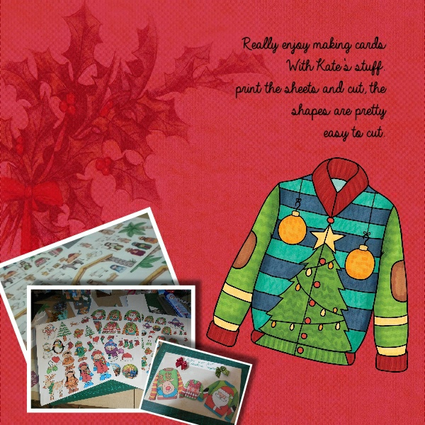 Christmas Sweater scrapbook page created with digital scrapbooking kits from Kate Hadfield Designs – ideas and inspiration for Christmas scrapbook layouts! Layout created by Creative Team member Vivi