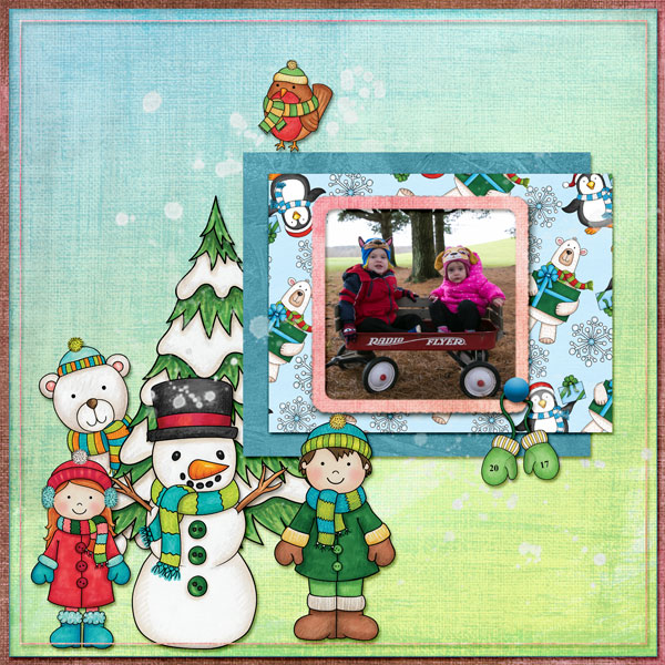 "Winter scrapbook page created with the ""Wrap Up Warm"" digital scrapbooking elements from Kate Hadfield – fun ideas for winter scrapbook layouts! Layout created by Creative Team member Amy"