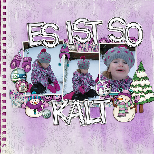 Winter scrapbook page created with digital scrapbooking kits from Kate Hadfield Designs – fun ideas and inspiration for scrapbooking your winter memories! Layout by Creative Team member Birgit