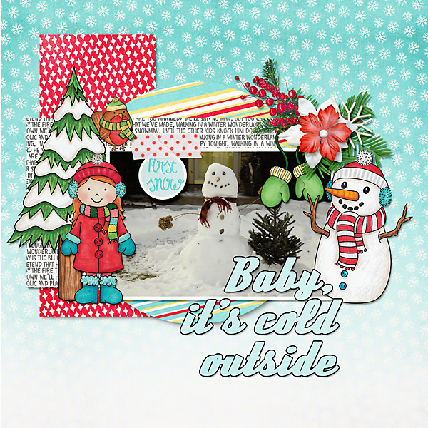 "Winter scrapbook page created with the ""Wrap Up Warm"" digital scrapbooking elements from Kate Hadfield – fun ideas for winter scrapbook layouts! Layout created by Creative Team member Cindy"