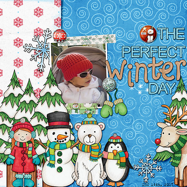 Winter scrapbook page created with digital scrapbooking kits from Kate Hadfield Designs – fun ideas and inspiration for scrapbooking your winter memories! Layout by Creative Team member Cindy