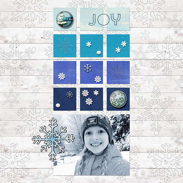 Winter scrapbook page created with digital scrapbooking kits from Kate Hadfield Designs – fun ideas and inspiration for scrapbooking your winter memories! Layout by Creative Team member Desi