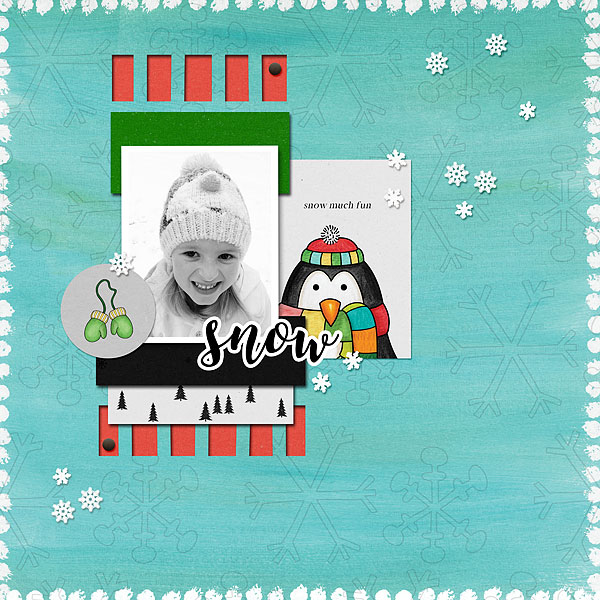 "Winter scrapbook page created with the ""Wrap Up Warm"" digital scrapbooking elements from Kate Hadfield – fun ideas for winter scrapbook layouts! Layout created by Creative Team member Desi"
