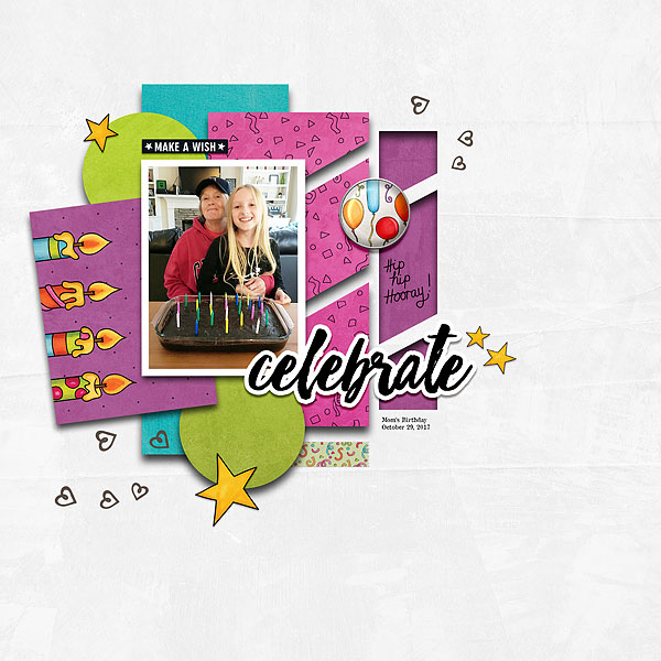 Birthday scrapbook page created with digital scrapbooking kits from Kate Hadfield Designs – fun ideas and inspiration for scrapbooking birthdays and celebrations! Layout by Creative Team member Desi