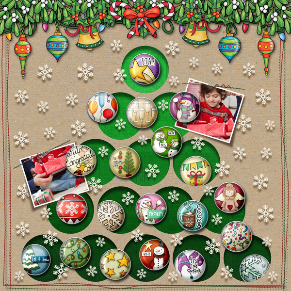 Christmas scrapbook page created with digital scrapbooking kits from Kate Hadfield Designs – fun ideas and inspiration for scrapbooking your Christmas memories! Layout by Creative Team member Karen